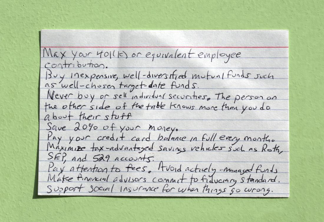 Have a Retirement Plan – Harold Pollock's index card version